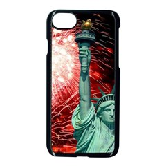 The Statue Of Liberty And 4th Of July Celebration Fireworks Apple Iphone 7 Seamless Case (black) by Onesevenart