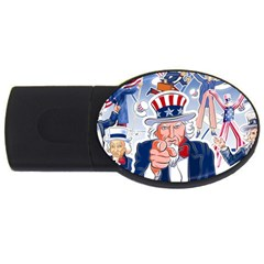 United States Of America Celebration Of Independence Day Uncle Sam Usb Flash Drive Oval (4 Gb) by Onesevenart