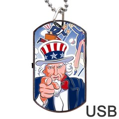 United States Of America Celebration Of Independence Day Uncle Sam Dog Tag Usb Flash (two Sides) by Onesevenart
