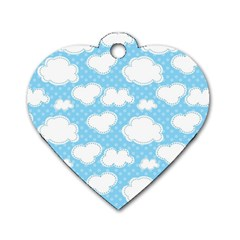 Cloud Blue Sky Dog Tag Heart (two Sides) by AnjaniArt