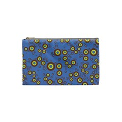Circle Purple Yellow Cosmetic Bag (small)  by AnjaniArt