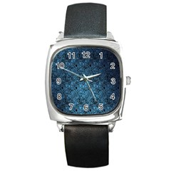 Blue Texture Square Metal Watch by AnjaniArt