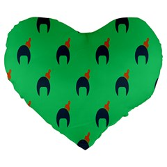 Comb Disco Green Large 19  Premium Heart Shape Cushions by AnjaniArt