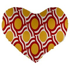Circle Orange Red Large 19  Premium Heart Shape Cushions by AnjaniArt