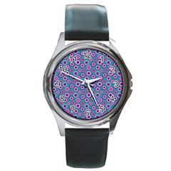 Clipart Floral Pattern Flower Purple Green Round Metal Watch by AnjaniArt
