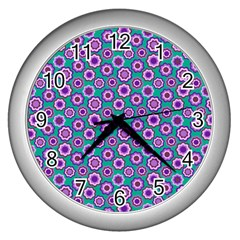 Clipart Floral Pattern Flower Purple Green Wall Clocks (silver)  by AnjaniArt