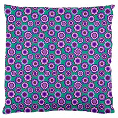 Clipart Floral Pattern Flower Purple Green Large Flano Cushion Case (one Side) by AnjaniArt
