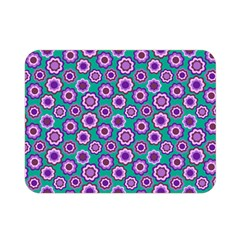 Clipart Floral Pattern Flower Purple Green Double Sided Flano Blanket (mini)  by AnjaniArt