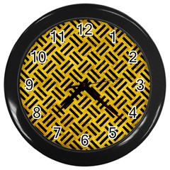 Woven2 Black Marble & Yellow Marble (r) Wall Clock (black) by trendistuff