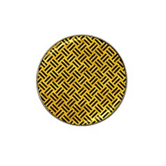 Woven2 Black Marble & Yellow Marble (r) Hat Clip Ball Marker (4 Pack) by trendistuff