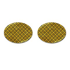 Woven2 Black Marble & Yellow Marble (r) Cufflinks (oval) by trendistuff