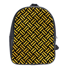 Woven2 Black Marble & Yellow Marble School Bag (large) by trendistuff