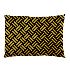 Woven2 Black Marble & Yellow Marble Pillow Case (two Sides) by trendistuff
