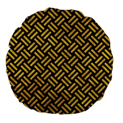 Woven2 Black Marble & Yellow Marble Large 18  Premium Flano Round Cushion  by trendistuff