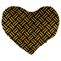 Woven2 Black Marble & Yellow Marble Large 19  Premium Flano Heart Shape Cushion by trendistuff