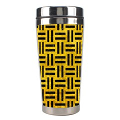 Woven1 Black Marble & Yellow Marble (r) Stainless Steel Travel Tumbler by trendistuff