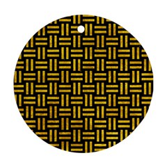 Woven1 Black Marble & Yellow Marble Ornament (round) by trendistuff