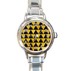 Triangle2 Black Marble & Yellow Marble Round Italian Charm Watch by trendistuff