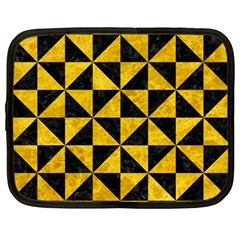 Triangle1 Black Marble & Yellow Marble Netbook Case (large) by trendistuff