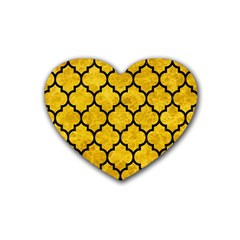 Tile1 Black Marble & Yellow Marble (r) Rubber Heart Coaster (4 Pack)