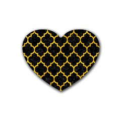 Tile1 Black Marble & Yellow Marble Rubber Coaster (heart) by trendistuff