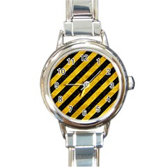 Stripes3 Black Marble & Yellow Marble Round Italian Charm Watch by trendistuff