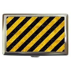 Stripes3 Black Marble & Yellow Marble Cigarette Money Case by trendistuff