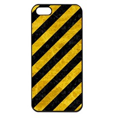 Stripes3 Black Marble & Yellow Marble Apple Iphone 5 Seamless Case (black) by trendistuff
