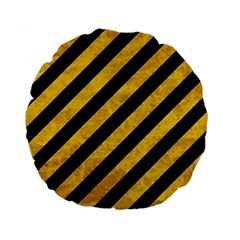 Stripes3 Black Marble & Yellow Marble Standard 15  Premium Flano Round Cushion  by trendistuff