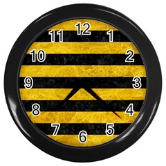 Stripes2 Black Marble & Yellow Marble Wall Clock (black) by trendistuff