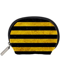 Stripes2 Black Marble & Yellow Marble Accessory Pouch (small) by trendistuff