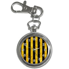Stripes1 Black Marble & Yellow Marble Key Chain Watch by trendistuff