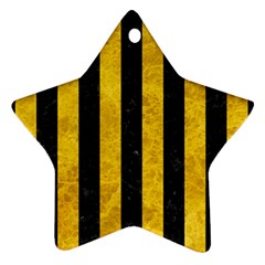 Stripes1 Black Marble & Yellow Marble Star Ornament (two Sides) by trendistuff