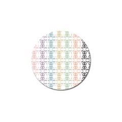 Digital Print Scrapbook Flower Leaf Color Green Red Purple Yellow Blue Pink Black Golf Ball Marker (10 Pack) by AnjaniArt