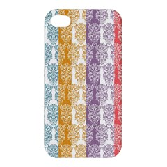 Digital Print Scrapbook Flower Leaf Color Green Red Purple Yellow Blue Pink Apple Iphone 4/4s Premium Hardshell Case by AnjaniArt