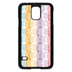 Digital Print Scrapbook Flower Leaf Color Green Red Purple Yellow Blue Pink Samsung Galaxy S5 Case (black)