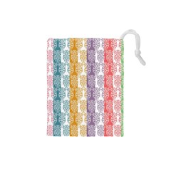 Digital Print Scrapbook Flower Leaf Color Green Red Purple Yellow Blue Pink Drawstring Pouches (small)  by AnjaniArt