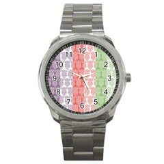 Digital Print Scrapbook Flower Leaf Color Green Red Purple Blue Pink Sport Metal Watch by AnjaniArt