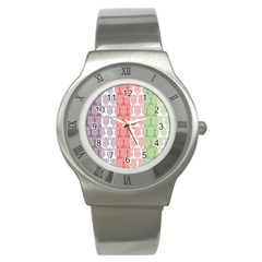 Digital Print Scrapbook Flower Leaf Color Green Red Purple Blue Pink Stainless Steel Watch by AnjaniArt