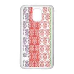 Digital Print Scrapbook Flower Leaf Color Green Red Purple Blue Pink Samsung Galaxy S5 Case (white) by AnjaniArt
