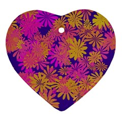 Floral Pattern Purple Rose Ornament (heart)