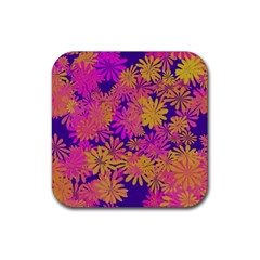 Floral Pattern Purple Rose Rubber Square Coaster (4 Pack)  by AnjaniArt