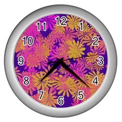Floral Pattern Purple Rose Wall Clocks (silver)  by AnjaniArt