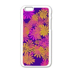 Floral Pattern Purple Rose Apple Iphone 6/6s White Enamel Case by AnjaniArt