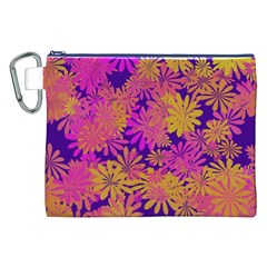 Floral Pattern Purple Rose Canvas Cosmetic Bag (xxl) by AnjaniArt
