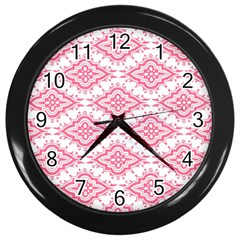 Flower Floral Pink Leafe Wall Clocks (black) by AnjaniArt