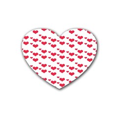 Heart Love Pink Valentine Day Rubber Coaster (heart)  by AnjaniArt