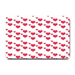 Heart Love Pink Valentine Day Small Doormat  by AnjaniArt