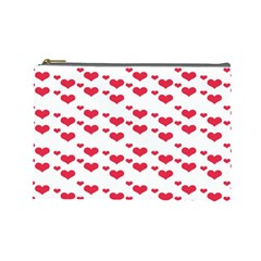 Heart Love Pink Valentine Day Cosmetic Bag (large)  by AnjaniArt