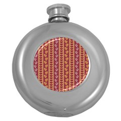 Heart Love Valentine Day Round Hip Flask (5 Oz) by AnjaniArt